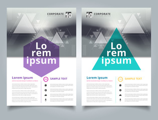 Brochure abstract blurred background with geometric triangles composition layout design template, Annual report