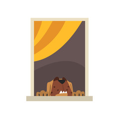 Big brown dog looking through window. Cartoon domestic animal character. Exterior detail element. View from the street. Colorful flat vector design