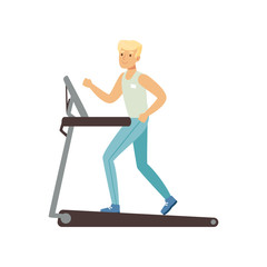 Young blond man running on treadmill. Astronaut preparing for space flight. Physical activity. Training machine. Cartoon male character in sportswear. Flat vector