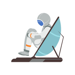 Man training vestibular apparatus on simulator machine. Astronaut preparing for space flight. Cartoon cosmonaut character in spacesuit. Flat vector design