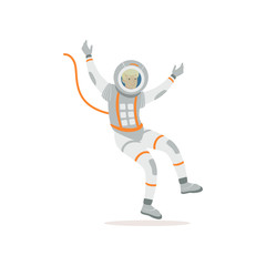 Man training before flight in cosmos. Cartoon cosmonaut character wearing spacesuit. Young astronaut flying in open space. Colorful flat vector design