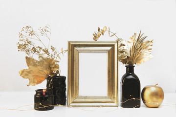 White mock up frame, gold hipster background