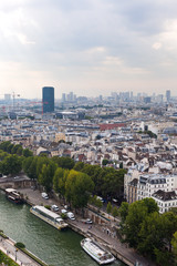 Aerial view of Paris, France in warm morning.