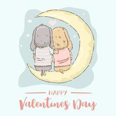 Valentine's Day card, cute cartoon Dachshund  couple sitting on the moon, Vector