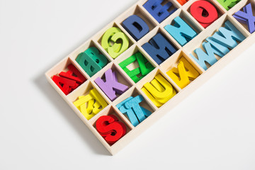 Box with colorful letters