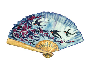 Traditional Asian fan with cherry blossom and flying swallows on blue sky background, hand painted watercolor illustration isolated on white