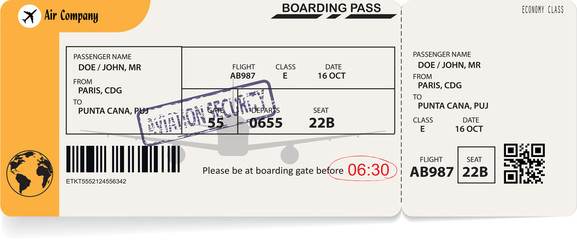 Yellow template of airline boarding pass to plane for travel journey. Vector illustration