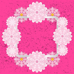 Spring congratulatory floral background. Festive paper flowers on a square light frame. Grunge bright pink background. Vector greeting card with a holiday on March 8, Mother's Day