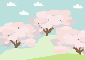 桜の木の風景。春の野山の風景。桜の花の風景。