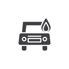 Burning car icon vector, filled flat sign, solid pictogram isolated on white. Car in fire symbol, logo illustration.