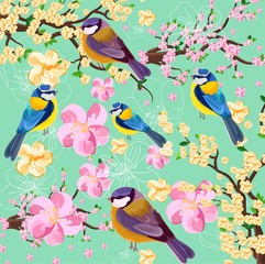 Blossom cherry flowers branch and birds pattern. Spring texture background illustrations