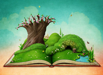 Fantasy spring illustration for holiday greeting card or  poster   with  green landscape on the book