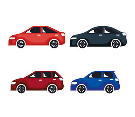 group of cars sedan icons vector illustration design