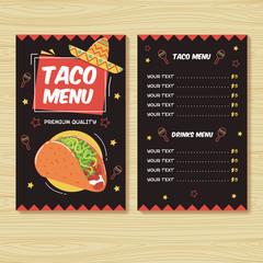 Taco menu. Mexican food menu print template
