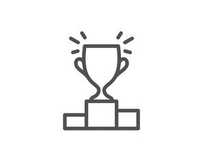 Winner podium line icon. Sports Trophy symbol. Championship achievement sign. Quality design element. Editable stroke. Vector