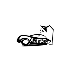 sports car under shower vector illustration