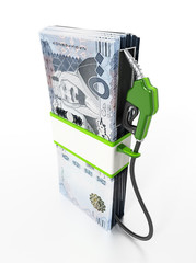 Gas pump attached to Saudi Arabia riyal bills. 3D illustration