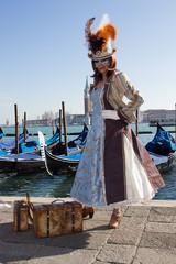 Venetian Mask - Beautiful Woman with Gondolas on Venice Carnival