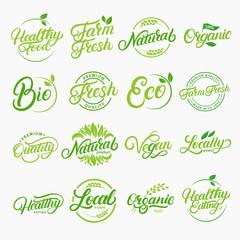 Set of organic, local, fresh, natural, vegan, healthy handwritten lettering logos, labels, emblems.