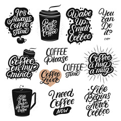 Set of hand drawn lettering coffee quotes.