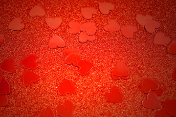 Red background with hearts stock images. Red hearts background. Red Valentine Day glitter background