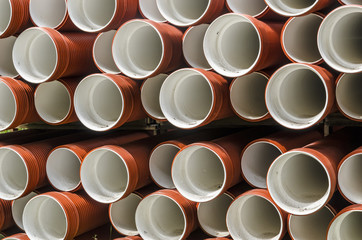 Stacked polypropylene pipes for sewage