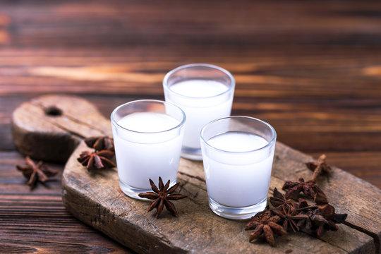 Alcohol Raki with anis. Turkish, Greek aperitif arak, Ouzo