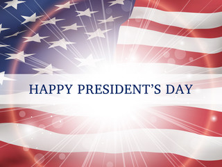 Happy president's day - poster with the flying flag of the United States of America.
