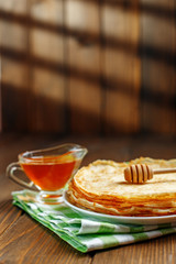 Traditional Ukrainian or Russian pancakes. The concept of food, breakfast,  pancake week.