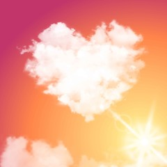 Realistic vector cloud heart on beautiful sunset sky with sun. Flare, sunshine.