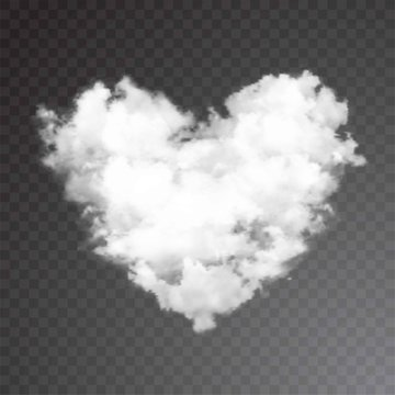 Realistic vector cloud heart. Transparent background.