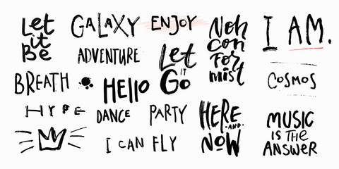 Abstract quote lettering set. Calligraphy inspiration graphic design typography element. Hand written postcard. Cute simple vector sign grunge style Textile print feminism Breath Party Enjoy Adventure