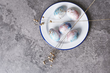 Ornate easter eggs on a plate