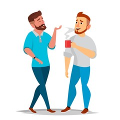 Talking Men Vector. Laughing Friends, Office Colleagues. Communicating Male. Business Person. Situation. Isolated Flat Cartoon Illustration