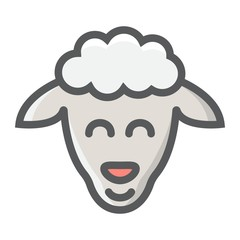 Sheep filled outline icon, easter and holiday, lamb sign vector graphics, a colorful line pattern on a white background, eps 10.
