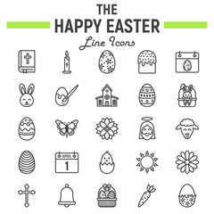 Happy Easter line icon set, holiday symbols collection, vector sketches, logo illustrations, celebration signs linear pictograms package isolated on white background, eps 10.