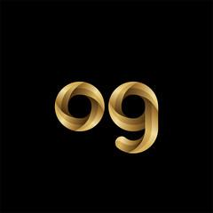 Initial lowercase letter og, swirl curve rounded logo, elegant golden color on black background