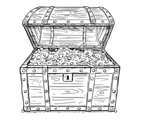 Cartoon vector doodle drawing illustration of old wooden pirate treasure chest full of gold or silver coins inside. Business concept of success and wealth.