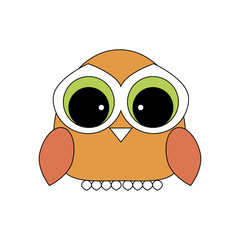 Owl icon design. Beautiful orange little owl.