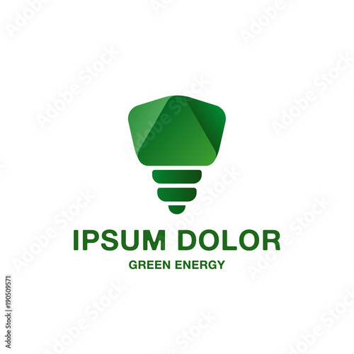 Abstract and minimalistic green light bulb icon pure green energy abstract and minimalistic green light bulb icon pure green energy logo idea for the business reheart Images