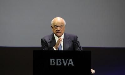 Spanish bank BBVA's chairman  Gonzalez gestures during the annual results presentation at company's headquarters in Madrid
