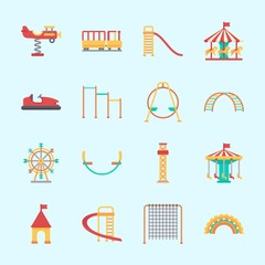 Icons about Amusement Park with ferris wheel, climb , horizontal bar, climbing, slide and swing