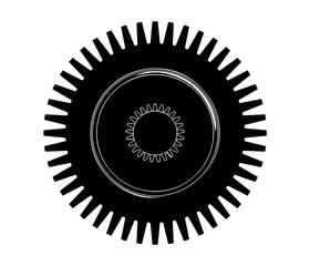 black cogwheel on a white