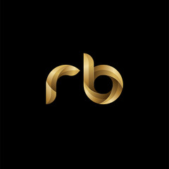 Initial lowercase letter rb, swirl curve rounded logo, elegant golden color on black background