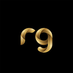 Initial lowercase letter rg, swirl curve rounded logo, elegant golden color on black background