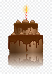 Realistic vector illustration of chocolate birthday cake with burning candle.