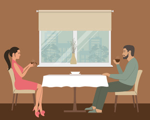 Tea in the kitchen. A young man and a young woman are drinking tea at a table on a window background. There is a vase with willows branches on the windowsill. Vector illustration.