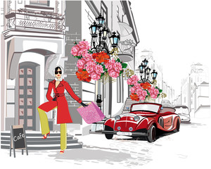Fashion girl in a hat and in  a coat  shopping in the street of the old city. Retro car. Hand drawn vector architectural background with historic buildings.