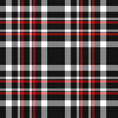 Red, black and white tartan. Seamless pattern for textile. Vector background eps10