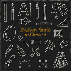 Hand drawn doodle design tools set.